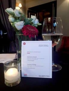 A menu of the speciality cocktails served during the event.