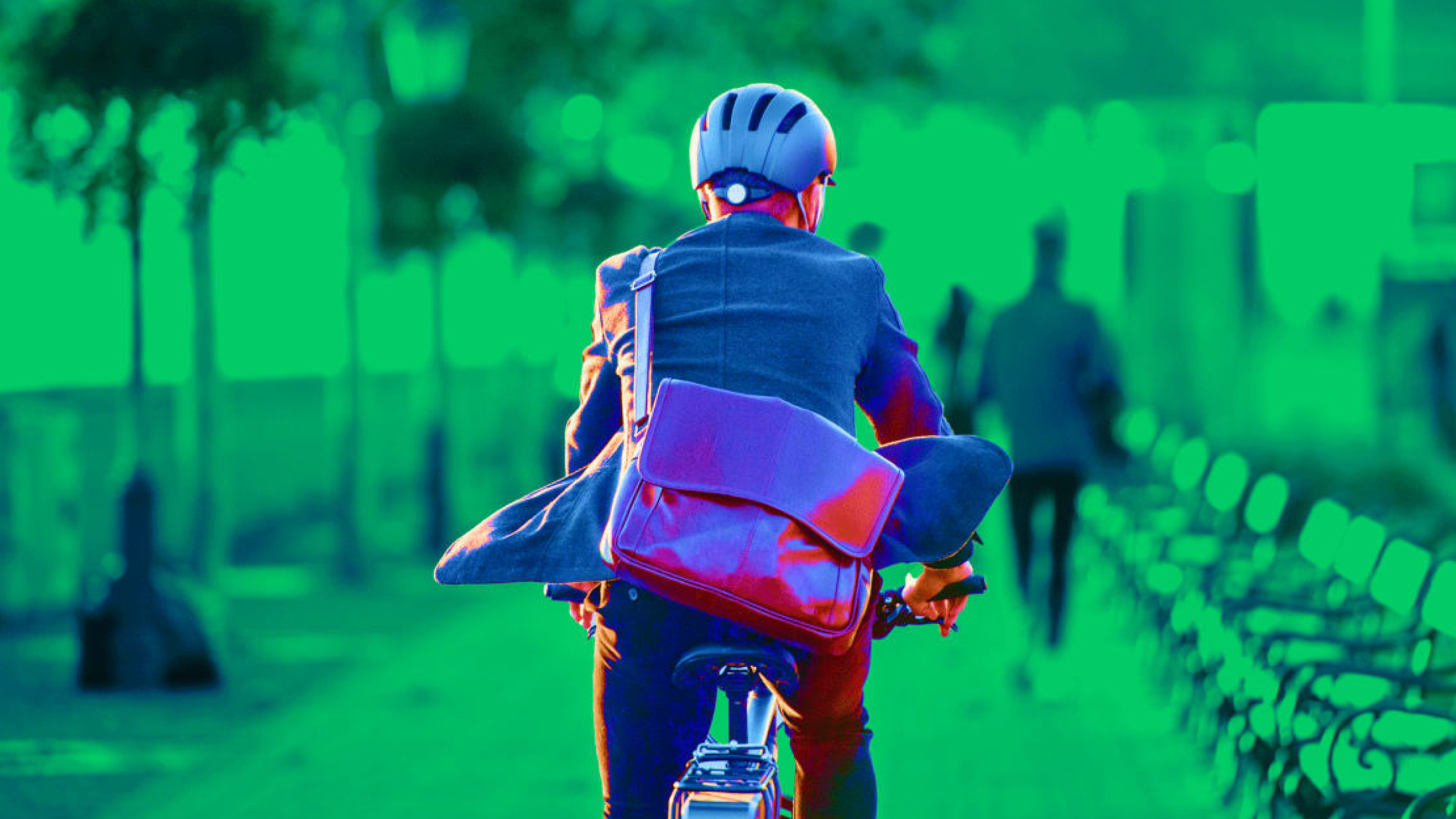 Businessman Commuting on Bike
