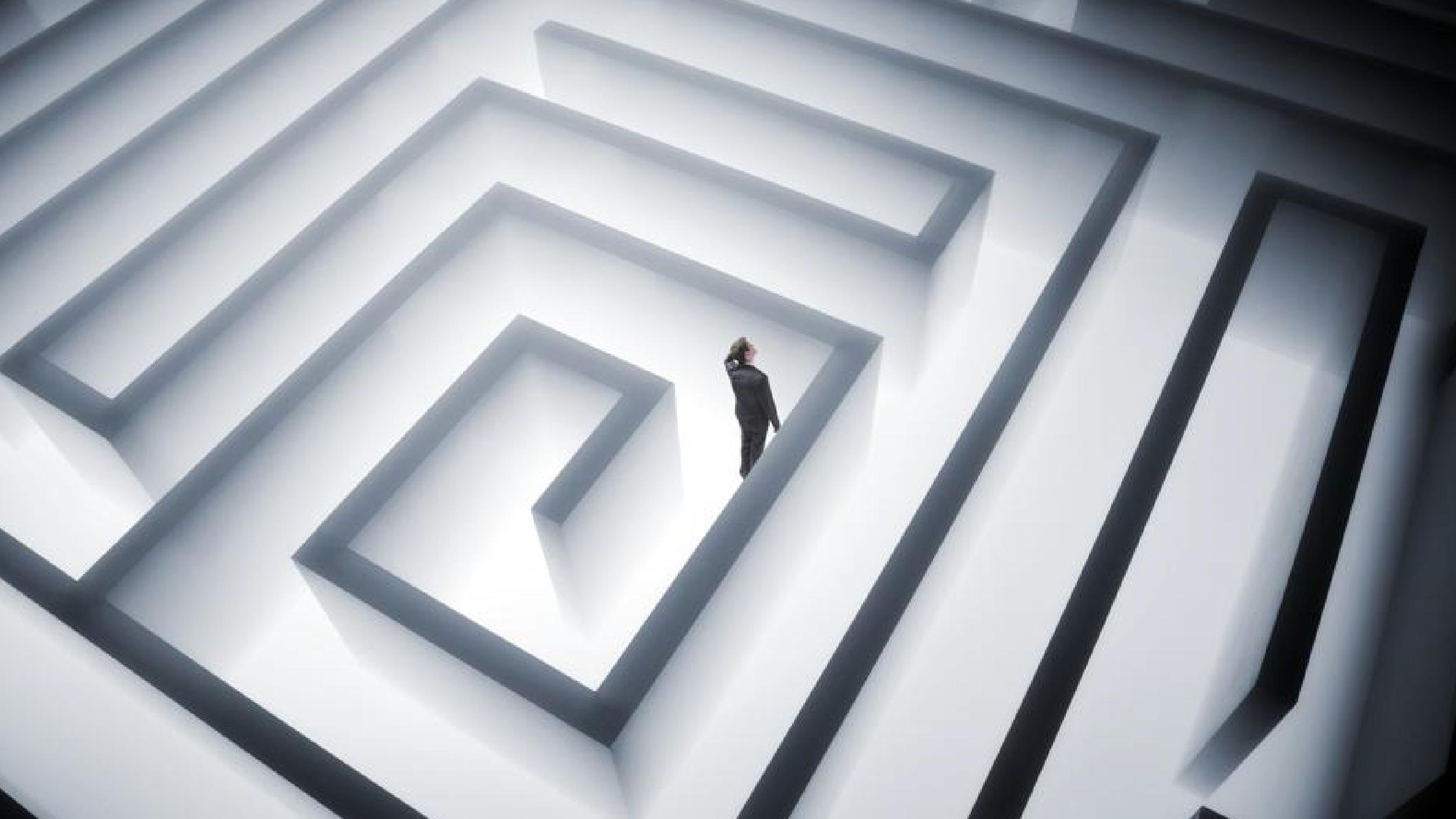 Person walking through a maze